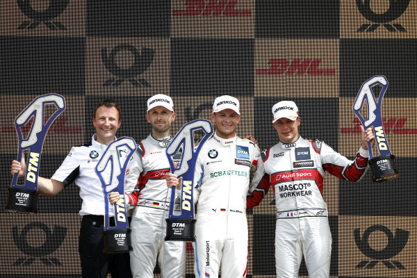 Podium: Race winner Marco Wittmann, BMW Team RMG, second place René Rast, Audi Sport Team Rosberg, third place Loic Duval, Audi Sport Team Phoenix.