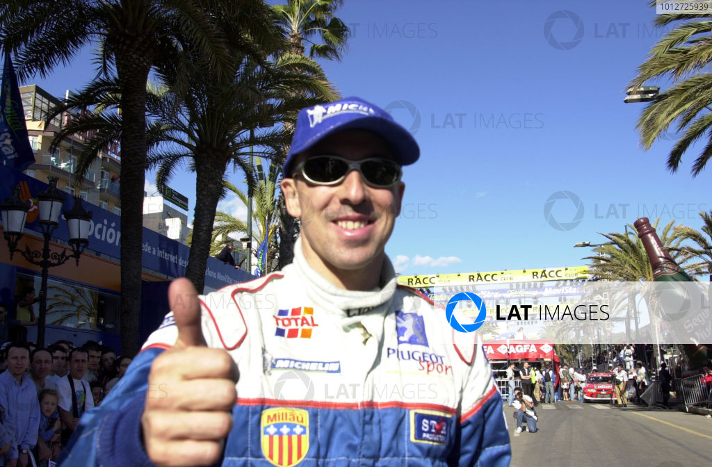 2001 World Rally Championship. Catalunya Rally, Spain. 22nd - 25th March 2001. Rd 4. Victorious Didier Auriol, portrait. World Copyright: Ralph Hardwick / LAT Photographic. Ref: Didier5