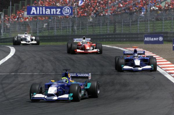 2002 European Grand Prix - RaceNurburgring, Germany. 23rd June 2002Felipe Massa, Sauber Petronas C21, leads Nick Heidfeld, Allan McNish, Toyota TF102, and Olivier Panis, BAR Honda 004, action.World Copyright: Steve Etherington/LATref: Digital Image Only