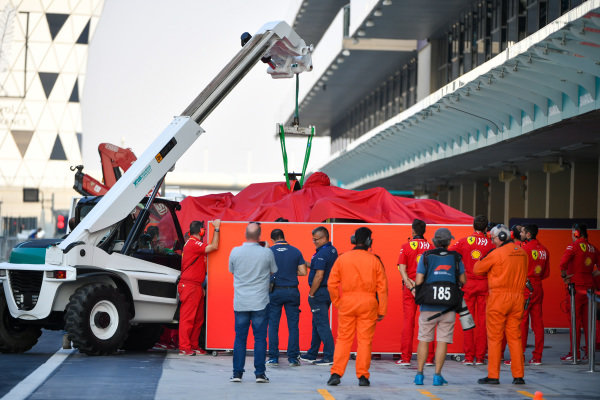 Car of Charles Leclerc, Ferrari SF90 lifted back into the garage