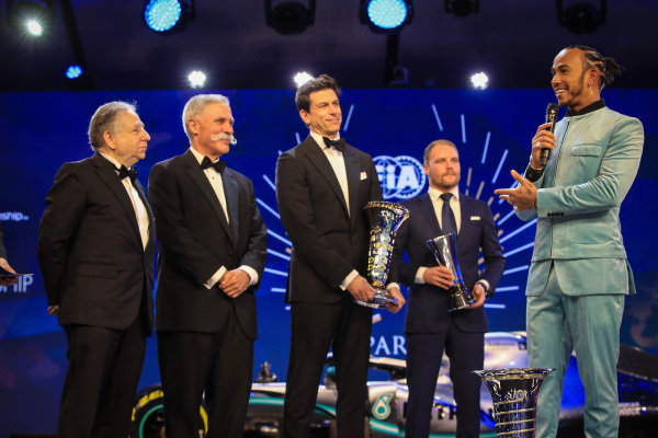 Jean Todt, President, FIA, Chase Carey, Chairman, Formula 1, Toto Wolff, Executive Director (Business), Mercedes AMG, Valtteri Bottas, Mercedes AMG F1, and Lewis Hamilton, Mercedes AMG F1, on stage