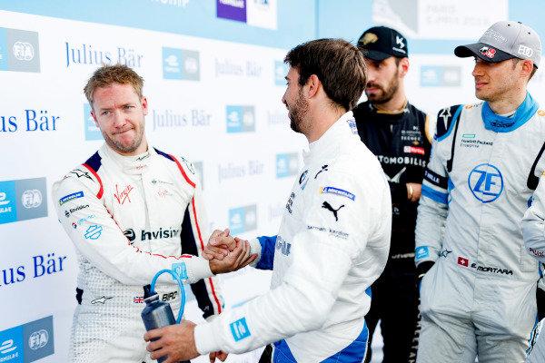 Sam Bird (GBR), Envision Virgin Racing, shakes hands with Antonio Felix da Costa (PRT), BMW I Andretti Motorsports