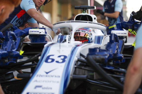 George Russell, Williams FW41 Mercedes, in cockpit.