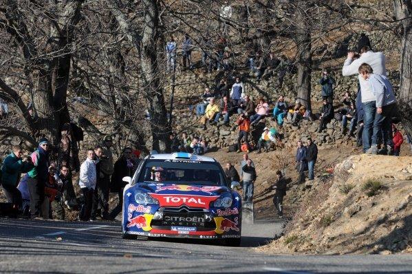 Mikko Hirvonen (FIN), Citroen DS3 WRC, on stage 3. FIA World Rally Championship, Rd1, Rallye Monte-Carlo, Monaco, Day One, Wednesday 18 January 2012.