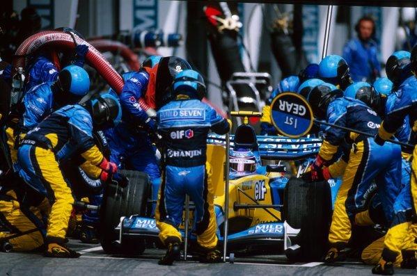 Jarno Trulli (ITA) Renault R23 makes a pit stop.Austrian Grand Prix, A1-Ring, Austria, 18 May 2003.BEST IMAGE