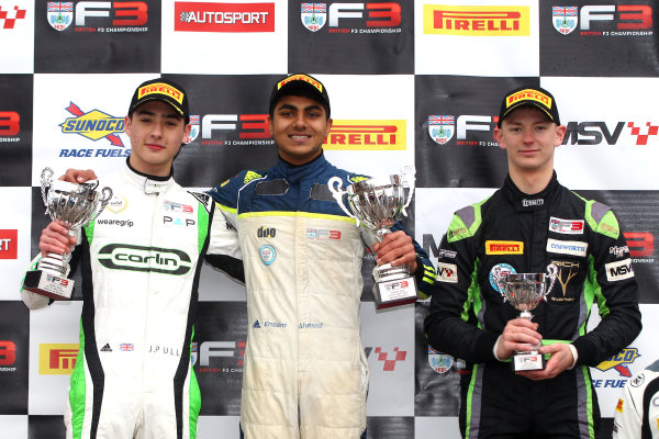 2017 BRDC Formula Three Championship, Oulton Park, 15th-17th April, 2017, Podium, James Pull, Ahmed and Sowery  World copyright. JEP/LAT Images