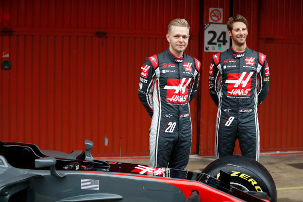 HAAS F1 Car Formula 1 Launch. Barcelona, Spain  Monday 27 February 2017. Kevin Magnussen, Haas. and Romain Grosjean, Haas F1.  World Copyright: Dunbar/LAT Images Ref: _31I9953