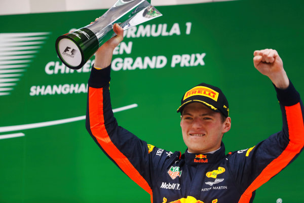 Shanghai International Circuit, Shanghai, China.  Sunday 09 April 2017.  Max Verstappen, Red Bull, 3rd Position, celebrates with his trophy on the podium. World Copyright: Steven Tee/LAT Images  ref: Digital Image _O3I5508