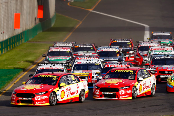 Australian Supercars Series Albert Park, Melbourne, Australia. Friday 24 March 2017. Race 2. Fabian Coulthard, No.12 Ford Falcon FG-X, Shell V-Power Racing Team, leads Scott McLaughlin, No.17 Ford Falcon FG-X, Shell V-Power Racing Team, Garth Tander, No.33 Holden Commodore VF, Wilson Security Racing GRM, and the rest of the field through the first corner. World Copyright: Zak Mauger/LAT Images ref: Digital Image _56I5835