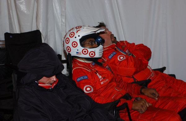 2004 Rolex 24 @ Daytona, Daytona International Speedway, Daytona, Florida, U.S A.January 29 - February 1, 2004Chip Ganassi Racing crew members taking cat-naps in their pits.C: 2004, Denis L. Tanney, U.S A.LAT Photographic