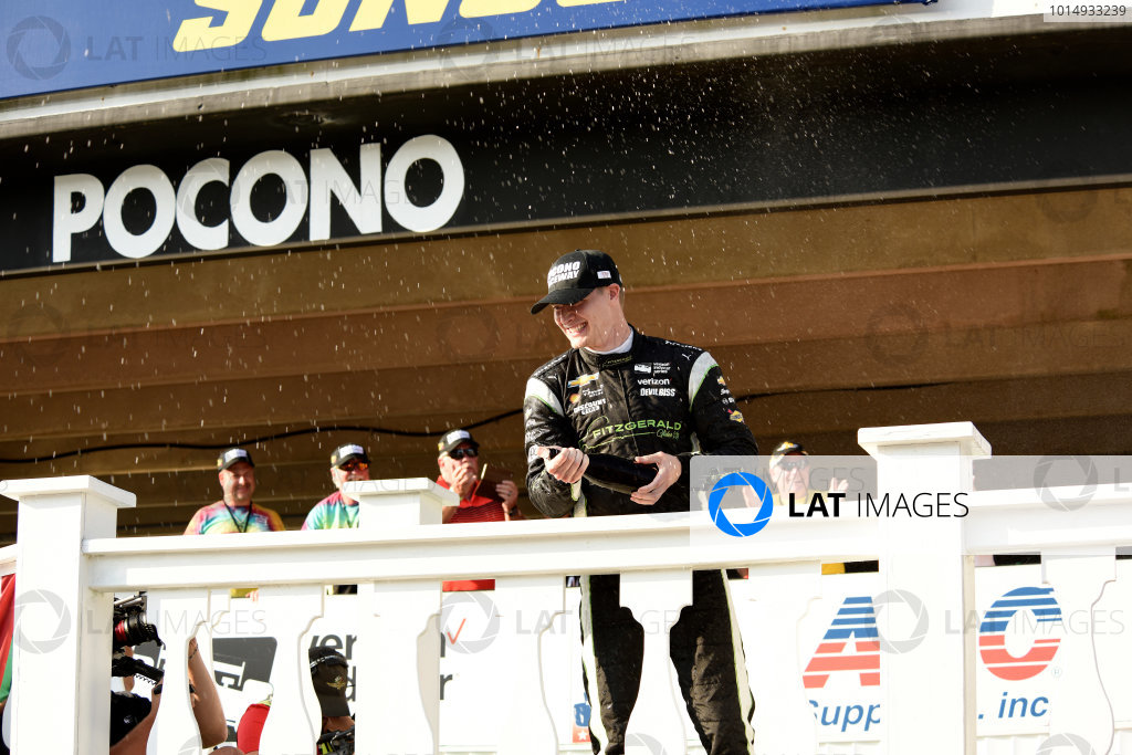 Verizon IndyCar Series ABC Supply 500 Pocono Raceway, Long Pond, PA USA Monday 21 August 2017 Josef Newgarden, Team Penske Chevrolet sprays champagne World Copyright: Gregg Feistman LAT Images