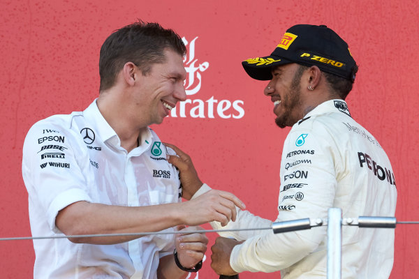 Suzuka Circuit, Japan. Sunday 8 October 2017. James Vowles, Chief Strategist, Mercedes AMG, and Lewis Hamilton, Mercedes AMG, 1st Position, on the podium. World Copyright: Steve Etherington/LAT Images  ref: Digital Image SNE14986