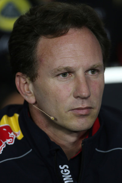 Christian Horner (GBR) Red Bull Racing Team Principal in the Press Conference. Formula One World Championship, Rd8, British Grand Prix, Practice, Silverstone, England, Friday 28 June 2013.