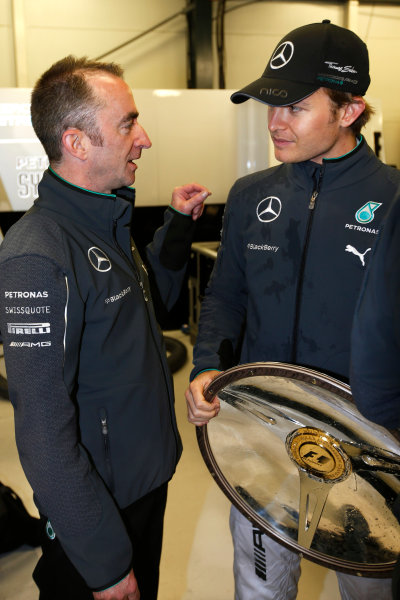 Albert Park, Melbourne, Australia. Sunday 16 March 2014. Paddy Lowe, Executive Director (Technical), Mercedes AMG, with Nico Rosberg, Mercedes AMG, 1st Position. World Copyright: Charles Coates/LAT Photographic. ref: Digital Image _J5R6430