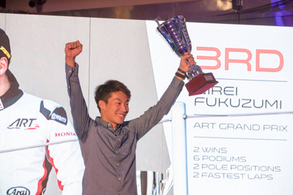 2017 Awards Evening. Yas Marina Circuit, Abu Dhabi, United Arab Emirates. Sunday 26 November 2017. Nirei Fukuzumi (JPN, ART Grand Prix).  Photo: Zak Mauger/FIA Formula 2/GP3 Series. ref: Digital Image _56I3646