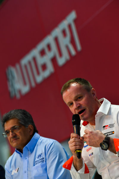 Autosport International Exhibition. National Exhibition Centre, Birmingham, UK. Thursday 11th January 2018. Michel Nandan and Tommi Makinen talk to Henry Hope-Frost on the Autosport Stage. World Copyright: Mark Sutton/Sutton Images/LAT Images Ref: DSC_6694