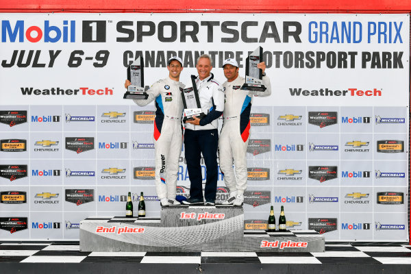 IMSA WeatherTech SportsCar Championship Mobil 1 SportsCar Grand Prix Canadian Tire Motorsport Park Bowmanville, ON CAN Sunday 9 July 2017 25, BMW, BMW M6, GTLM, Bill Auberlen, Alexander Sims, celebrates, win, winners, victory lane, podium World Copyright: Scott R LePage/LAT Images