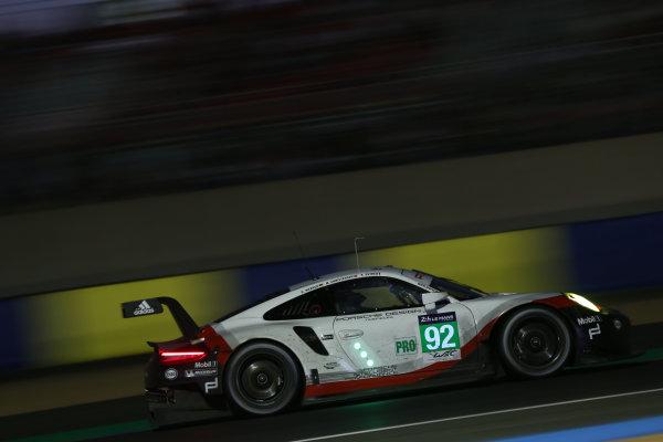 2017 Le Mans 24 Hours Circuit de la Sarthe, Le Mans, France. Thursday 15 June 2017 #92 Porsche GT Team Porsche 911 RSR: Michael Christensen, Kevin Estre, Dirk Werner  World Copyright: JEP/LAT Images