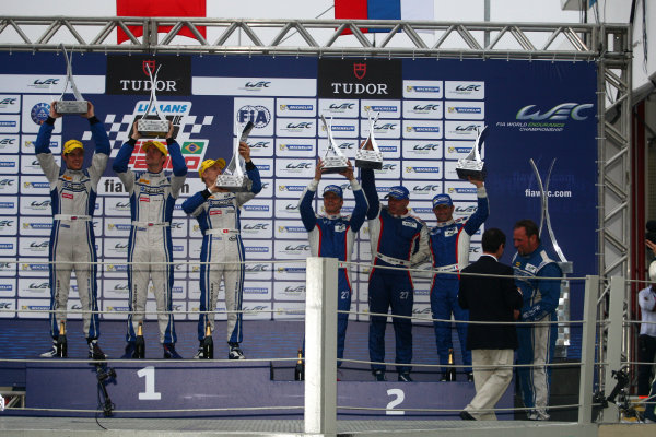2014 World Endurance Championship, Interlagos, Brazil. 28th - 30th November 2014. P2 Podium (l-r) Matthew Howson / Richard Bradley / Alexandre Imperatori KCMG Oreca 03 Nissan, Sergey Zlobin / Nicolas Minassian / Maurizio Mediani SMP Racing Oreca 03 Nissan. World Copyright: Ebrey / LAT Photographic.