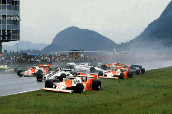 Jacarepagua, Rio de Janeiro, Brazil. 27-29 March 1981.Chaos at the start with Andrea de Cesaris (#8 McLaren M29F-Ford Cosworth), Hector Rebaque (#6 Brabham BT49C-Ford Cosworth), Mario Andretti (#22 Alfa Romeo 179C), Rene Arnoux (#16 Renault RE20), John Watson (#7 McLaren M29F-Ford Cosworth), Chico Serra (#21 Fittipaldi F8C-Ford Cosworth), Ricardo Zunino (Tyrrell 010-Ford Cosworth), Siegfried Stohr (#30 Arrows A3-Ford Cosworth) and Jean-Pierre Jarier (Ligier JS17-Matra) are all involved in an accident on the grid.World Copyright: LAT PhotographicRef: 35mm transparency 81BRA11