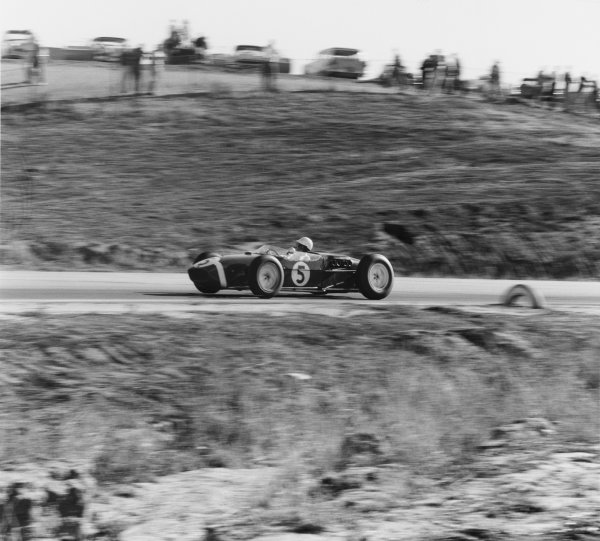 Riverside, California, USA. 18th - 20th November 1960.Stirling Moss (Lotus 18-Climax) 1st position, action.World Copyright: LAT Photographic.Ref: 7429.