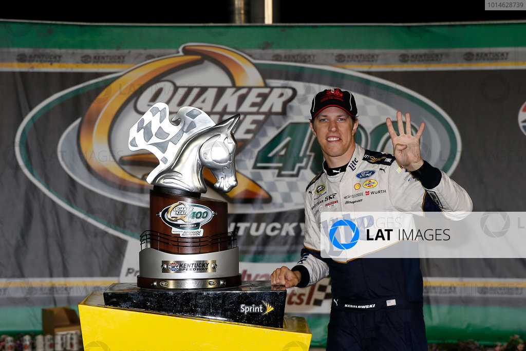 7-9 July, 2016, Sparta, Kentucky USA Brad Keselowski celebrates in victory lane  ©2016, Russell LaBounty LAT Photo USA