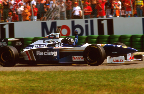 Hockenheim, German.26-28 July 1996.Damon Hill (Williams FW18 Renault) punches the air after taking victory.Ref-96 GER 04.World Copyright - LAT Photographic