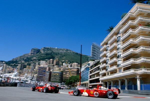 2005 Monaco Grand PrixMonte Carlo, Monaco. 19th - 22nd May Rubens Barrichello, Ferrari F2005 leads team mate Michael Schumacher, Ferrari F2005. Action. World Copyright: Charles Coates/LAT Photographic ref: 35mm Image 05Monaco14