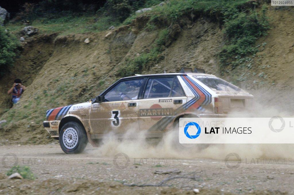 1987 World Rally Championship.Acropolis Rally, Greece. 31 May-3 June 1987.Markku Alen/Ilkka Kivimaki (Lancia Delta HF 4WD), 1st position.World Copyright: LAT PhotographicRef: 35mm transparency 87RALLY06
