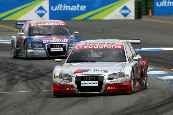 2006 DTM Championship.Round 1, Hockenheimring. 7th - 9th April 2006.Frank Stippler (GER), Audi Sport Team Rosberg, Audi A4 DTM, leads Mattias Ekström (SWE), Audi Sport Team Abt Sportsline, Audi A4 DTMWorld Copyright: Miltenburg/xpb cc/LATref: Digital Image Only