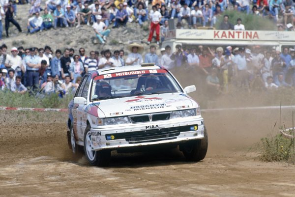 1991 World Rally Championship.Acropolis Rally, Greece. 2-5 June 1991.Timo Salonen/Voitto Silander (Mitsubishi Galant VR-4), retired.World Copyright: LAT PhotographicRef: 35mm transparency 91RALLY14