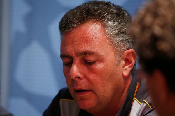 Yas Marina Circuit, Abu Dhabi, United Arab Emirates. Wednesday 29 November 2017. Mario Isola, Racing Manager, Pirelli Motorsport, talks to reporters. World Copyright: Joe Portlock/LAT Images  ref: Digital Image _L5R1249