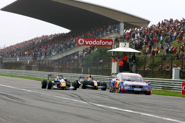 2006 DTM Championship.Round 7, Circuit Park Zandvoort. 1st - 3rd September 2006.Red Bull demo with Sebastian Vettel (GER), ASM Formula 3 (left), Robert Doornbos (NED), Red Bull Racing Formula One (center) and Marco Werner (GER), Audi A4 DTMWorld Copyright: Miltenburg/xpb cc/LATref: Digital Image Only