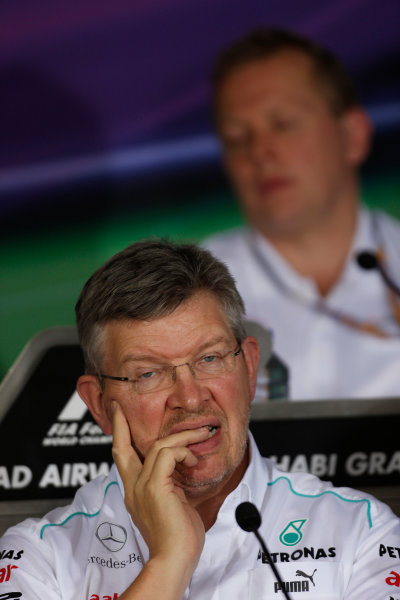 Yas Marina Circuit, Abu Dhabi, United Arab Emirates Friday 2nd November 2012. Ross Brawn, Team Principal, Mercedes AMG F1, in the Press Conference.  World Copyright:Charles Coates/  ref: Digital Image _N7T1437