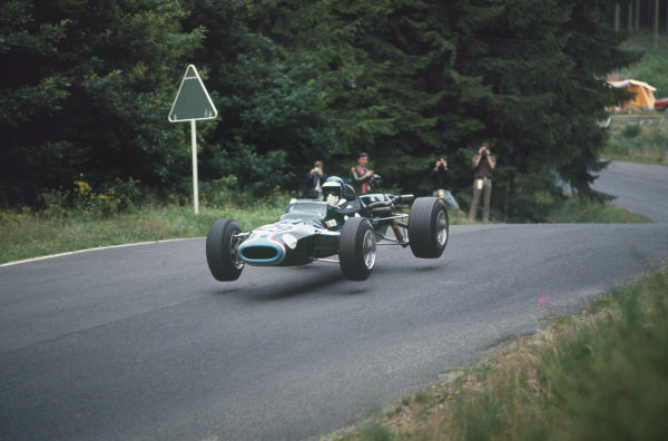 Nurburgring, Germany. 6 August 1967.  Jacky Ickx (F2 Tyrrell Racing / Matra MS7 Ford).  Ref: 67GER05. World Copyright: LAT Photographic