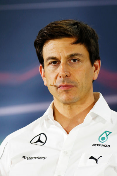 Yas Marina Circuit, Abu Dhabi, United Arab Emirates. Friday 21 November 2014. Toto Wolff, Executive Director (Business), Mercedes AMG, in the team principals Press Conference. World Copyright: Alastair Staley/LAT Photographic. ref: Digital Image _79P8711