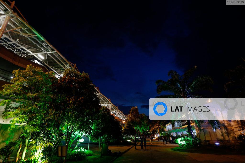 Sepang International Circuit, Sepang, Kuala Lumpur, Malaysia. Saturday 28 March 2015. Nighttime view in the paddock. World Copyright: Alastair Staley/LAT Photographic. ref: Digital Image _79P7370