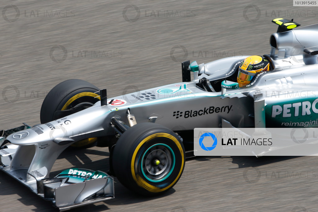 Shanghai International Circuit, Shanghai, China Saturday 13th April 2013 Lewis Hamilton, Mercedes W04.  World Copyright: Glenn Dunbar/LAT Photographic ref: Digital Image _89P6597