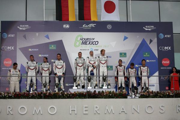 2017 World Endurance Championship, Mexico City, Mexico. 1st-3rd September 2017, P1 Podium, #2 Porsche LMP Team Porsche 919 Hybrid: Timo Bernhard, Earl Bamber, Brendon Hartley wins  World copyright. JEP/LAT Images