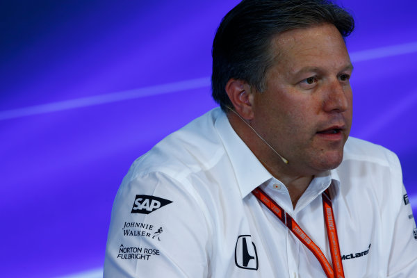 Spa Francorchamps, Belgium.  Friday 25 August 2017. Zak Brown, Executive Director, McLaren Technology Group, in the Team Principals Press Conference. World Copyright: Andy Hone/LAT Images  ref: Digital Image _ONZ9551