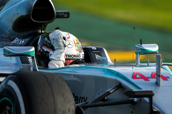 race winner Lewis Hamilton (GBR) Mercedes AMG F1 W06 celebrates at the end of the race at Formula One World Championship, Rd1, Australian Grand Prix, Race, Albert Park, Melbourne, Australia, Sunday 15 March 2015. BEST IMAGE