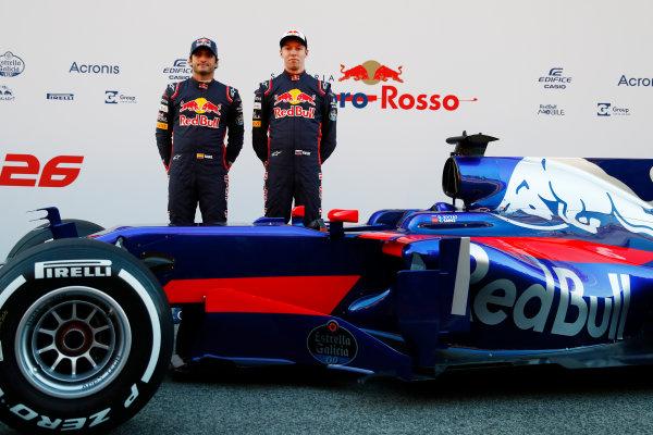 Toro Rosso STR12 Formula 1 Launch. Barcelona, Spain  Sunday 26 February 2017. Carlos Sainz Jr, Toro Rosso. and Daniil Kvyat, Toro Rosso.   World Copyright: Dunbar/LAT Images Ref: _X4I9496