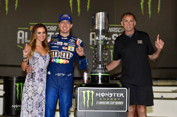 Monster Energy NASCAR Cup Series Monster Energy NASCAR All-Star Race Charlotte Motor Speedway, Concord, NC USA Saturday 20 May 2017 Kyle Busch, Joe Gibbs Racing, M&M's Caramel Toyota Camry celebrates his win in Victory Lane World Copyright: Nigel Kinrade LAT Images ref: Digital Image 17CLT1nk07406