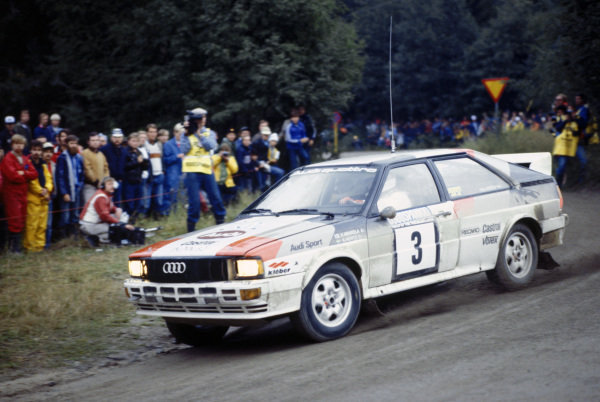 1000 Lakes Rally, Finland. 27-29 August 1982.Hannu Mikkola/Arne Hertz (Audi Quattro), 1st position, action.World Copyright: LAT PhotographicRef: 35mm transparency 82RALLY03