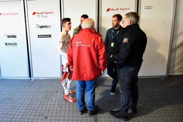 Sebastian Vettel (GER) with his brother Fabian Vettel (GER), Father Norbert Vettel (GER) and Dr. Mario Theissen (GER) at Audi Sport TT Cup, DTM Championship, Hockenheim, Germany, 14-15 October 2017.