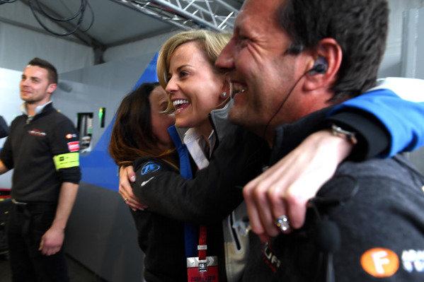 Susie Wolff, Team Principal, Venturi Formula E, celebrates in the garage