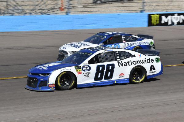 #88: Alex Bowman, Hendrick Motorsports, Chevrolet Camaro Nationwide, #38: David Ragan, Front Row Motorsports, Ford Mustang Select Blinds