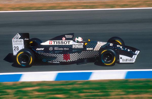 1994 European Grand Prix.Jerez, Spain.14-16 October 1994.Andrea de Cesaris (Sauber C13 Mercedes). He exited the race with a throttle problem.Ref-94 EUR 16.World Copyright - LAT Photographic
