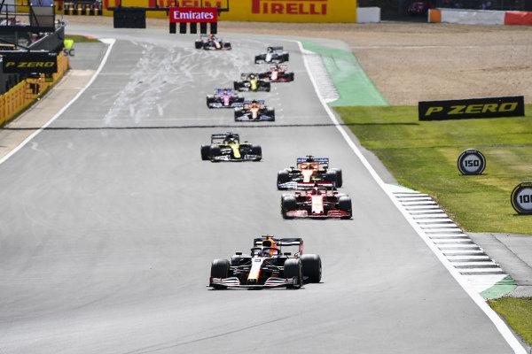 Max Verstappen, Red Bull Racing RB16, leads Charles Leclerc, Ferrari SF1000, Carlos Sainz, McLaren MCL35, and Daniel Ricciardo, Renault R.S.20