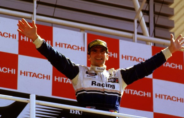 1994 British Grand Prix.Silverstone, England.8-10 July 1994.Damon Hill (Williams Renault) 1st position on the podium.World Copyright - LAT Photographic